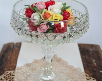 Diamond Cut Pressed Glass Pedastal Compote, Candy Dish