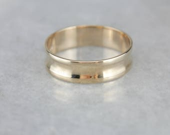 Cinched Concave Gold Wedding Band, Men's Wedding Ring XHTMDW