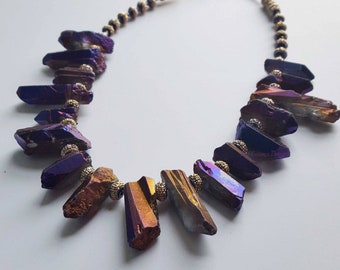 Purple Necklace, Chunky Purple Necklace, Chunky Necklace, Multicolor Necklace, Statement Necklace for Women, Edgy Necklace, Glam Necklace