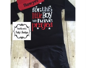Newborn boy coming home outfit For this Little BOY I or WE have Prayed gown and hat •••sale price•••