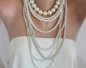 Multi Strand Pearl Necklace, Chunky Layered Brides Necklace with Rhinestone Chain