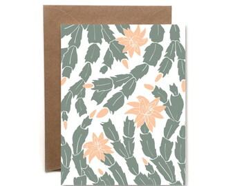Christmas Cactus Letterpress Card // Letterpress Card // Holiday Card //  HeartSwell