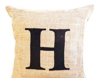 Personalised Monogram Burlap Pillow, Initial Alphabet Pillow, Letter Pillow, Couch Pillow, Farmhouse Decor, Housewarming Gift Multiple Sizes