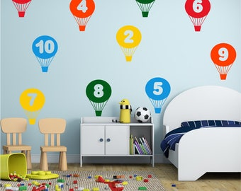 BALLOONS Numbers 1 to 10 Learning Girls Boys Childrens Playroom Bedroom Nursery Matt Wall Art Sticker Decal *20 colours* *2 sizes*