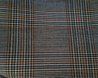 Brown orange plaid Wool Blend 3 2/3 yards 60 inch wide