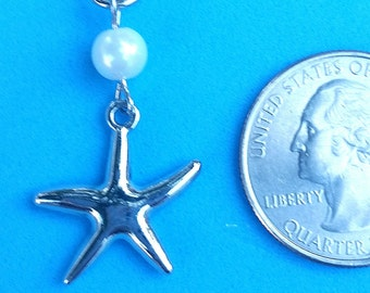 Hearing Aid Charms : Silver Starfish with pearl accent bead!
