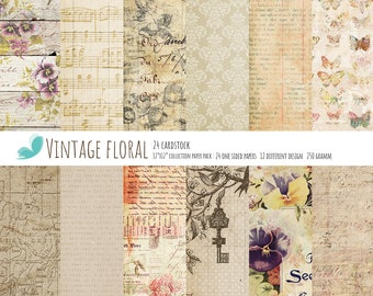 """Floral Paper Scrapbook Vintage Floral Paper Pad One-Sided Paper Pad 12""""X12"""" Cardstock Textured Paper"""