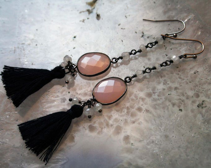 Rose Quartz and Rainbow Moonstone Tassel Earrings