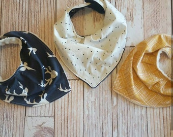 Baby Bandana Bib - Baby Bib Set - Drool Bib - Baby Shower Gift - Navy Mustard Cream Baby Bib - Deer Baby Bib - Antler Banadana Bib