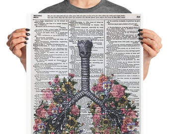 Anatomical Lungs, 16x20 Pulmonary, Flower Lungs, Floral Lungs, 16x20 Poster Matte Paper, Lung Print, Anatomical Flower Lung, Sunflower Lungs