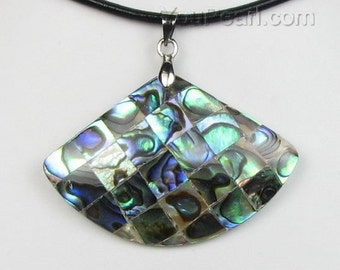 Abalone shell pendant, fan-shaped abalone paua shell pendant, leather cord shell necklace, mosaic sea shell pendant jewelry, SH1205-AP