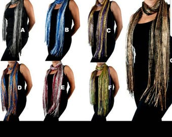 Women's New Bling Custom Pattern Light-Weight Shimmering Fashion Fringe Scarf/Shawl, listing #209530432