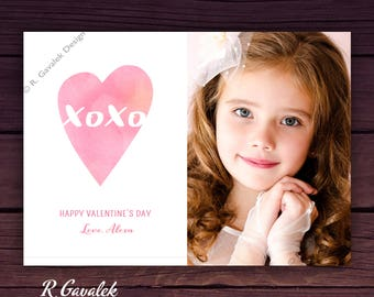 Valentine Photo Card | Printable Personalized Valentine | XOXO | Happy Valentines Day | Valentines Day Cards for Kids | Custom Valentines