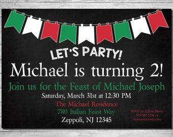 Italian Feast Birthday Party Invitation