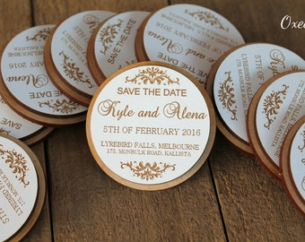 Save the date Magnets, eco wood magnet save the date by Oxee, rustic wedding, wedding favor