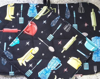 Hot pads - retro, black and turquoise