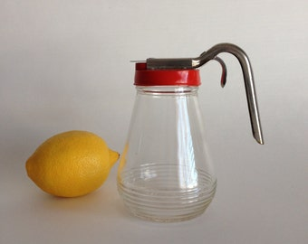 1930s Red Syrup Dispenser by Federal Tool Corp - Large Size - Drip-Cut Pull Back Metal Opener
