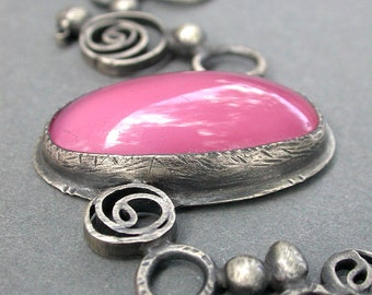 berry single pendant necklace pink purple oxidized sterling silver contemporary art jewelry bold necklace eclectic