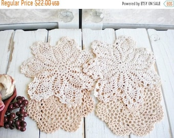 Sale Pink Wedding Dollies Boho, Natural Dyed Crochet Dollies, Set Of 4 Ombre Pink Vintage Dollies Home Decor, Craft Dollies, Dream Catcher