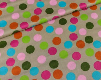Cotton fabric erding colorful dots on beige (9.90 EUR/meter)