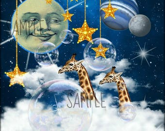 Giraffes, Collage Altered Art Ephemera Altered Art, Instant Download, Digital Original Sheet, Fantasy