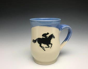 Racehorse Mug- Bright Blue - Equine Art- Horse Mug - Blue Mug - Blue Horse Mug - Horse Head - Horses - Horse Racing - Equine Art - Racehorse