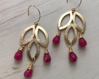 Ruby Gemstone Handmade Wire Wrapped Gold Magenta Earrings