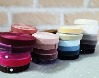5 YDs of 3mm/5mm/10mm Solid Velvet Ribbon (42 colors)