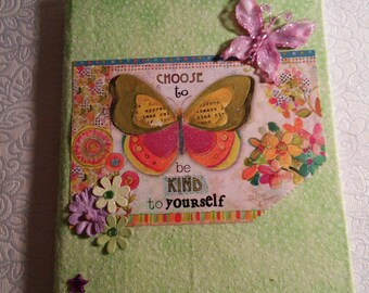 Fabric covered butterfly notebook