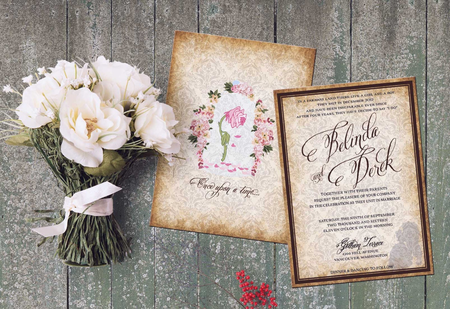 Beauty and Beast Wedding Set Invitation. Inspired Beauty and