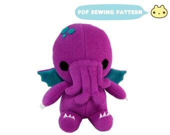 Baby Monster Pattern, Kid Sewing Pattern, Plush Toy PDF, Stuffed Monster Pattern, Baby Cthulhu, DIY Monster, Plush ePattern, Cthulhu Toy PDF