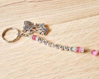 Girls Personalised Name Princess Keyring with Pink Cats Eye Beads