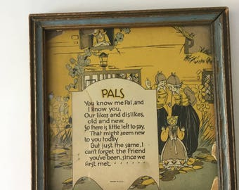 Antique 1900s Friendship Pals Glass and Wood Framed Art Poetry