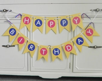 Happy Birthday Banner Set-Ready to Ship---Customization of colors included