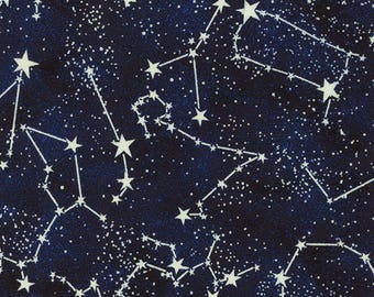 Glow in the Dark Constellations Midnight Blue Timeless Treasures Fabric
