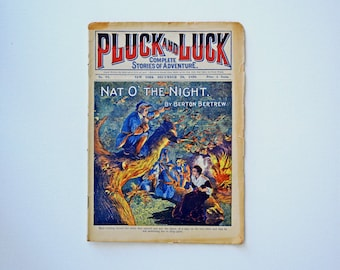 "Antique Victorian Era 1899 Childrens Adventure Story Magazine, ""Pluck and Luck"" - Published in New York December 20, 1899"
