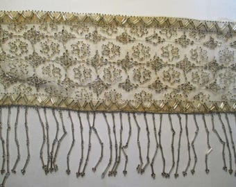 Antique Beaded Net Lace Flounce Fringe Flapper Gorgeous