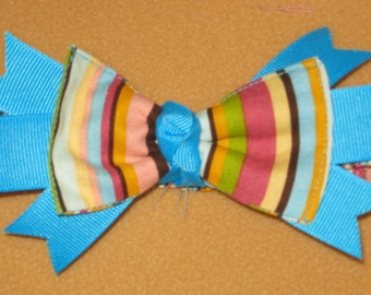 Headband Handmade - Aqua and Pink Stripes - Choose from 3 Sizes - on sale