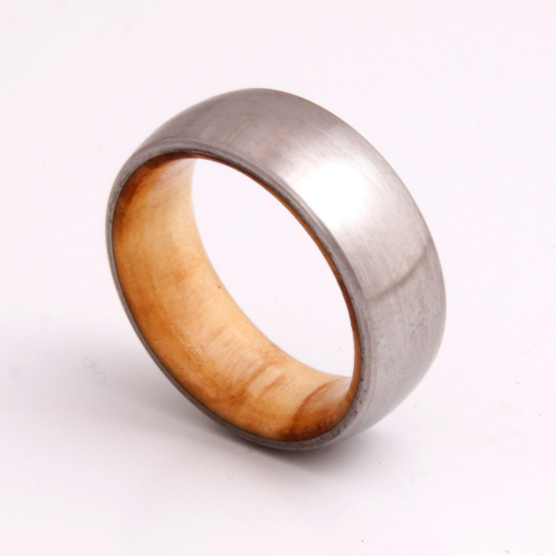 wooden ring wedding band titanium olive wood ring