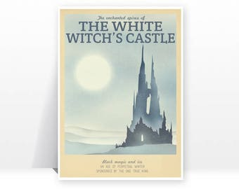 Retro Travel Poster - Narnia - White Witch - MANY SIZES - Modern Vintage Lion Witch Wardrobe Fantasy Castle Geek Film Typography Print