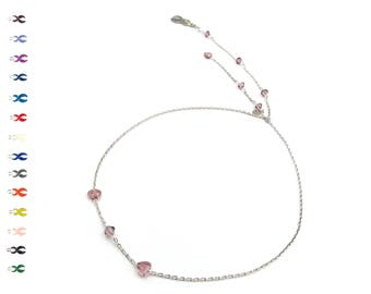 Silver Heart Necklace - Lariat - Heart Necklace - With Swarovski Crystals