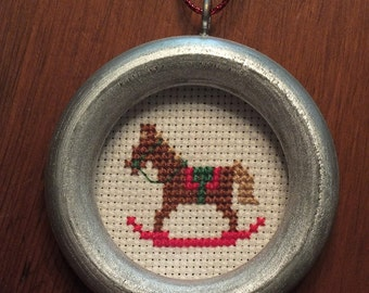 Cross Stitch Rocking Horse Ornament