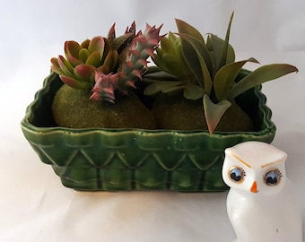 Vintage Green UPCO Planter, USA Pottery, Ceramic, Geometric Pattern, 100-6