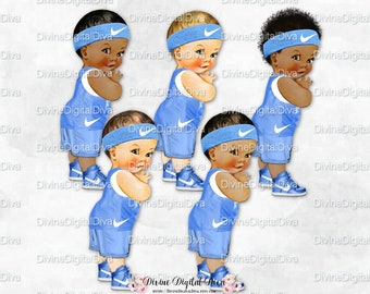 Little Prince Basketball Uniform Shorts Shirt Baby Blue & White Sneakers | Vintage Baby Boy 3 Skin Tones | Clipart Instant Download