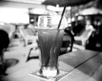 iced tea photo, summer photo, patio photo, black white photo, decor, holga, iced tea, summer, drink, photo, modern art, patio, restaurant
