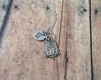 Ten Commandments initial necklace - bible jewelry, Christian necklace, Judaic jewelry, bible necklace, Christian jewelry, Jewish necklace