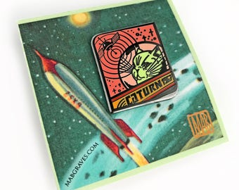 Caturn Alien 1967 - Cloisonne 6-color hard enamel pin by Mab Graves