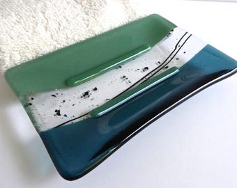 Fused Glass Soap Dish in Mineral Green and Sea Blue by BPRDesigns
