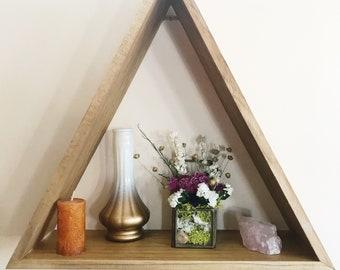 Wood Triangle Shelf, Geometric Wall Shelf, Wall Decor, Boho Style, Crystal Shelf