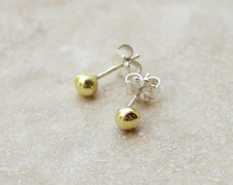 Small Gold Droplet Stud Earrings, Gold Ball Post Earrings, 18K Gold Post Earrings, Gold Ball Studs, Simple Gold Earrings